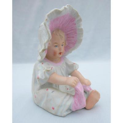 Piano Baby; Biscuit Doll Heubach, Germany Nineteenth; Sock 1900, Bebe