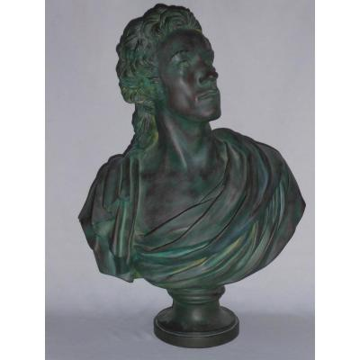 Bust Of Antoine Barnave Of Jean Houdon, Patinated Bronze Workshop Plaster, 19th Platre 1790