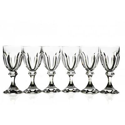 Série de 6 Verres en Cristal Taillé de Saint Louis Modèle Chambord , Vin, Eau, Champagne. Verre. Art Déco.