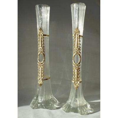 Paire De Vases Style Empire , Verre Moulé & Métal Doré Vase Soliflore Napoléon III XIXe Bronze
