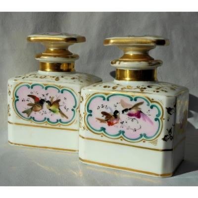Pair Of Perfume Bottles Porcelain Paris Napoleon III, Birds Bottle Romantic Style