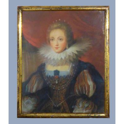Portrait Of The Queen Of France Anne Of Austria Rubens Pastel Nineteenth Wife Of King Louis XIII