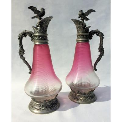 Paire De Carafes époque Fin XIXe Siècle Style Renaissance Aiguiere / Carafe Aiguière