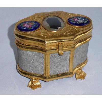 Boite à Bijoux Coffret XIXe Fleur De Lys Profil Tsar Nicolas II Emaux émail Russie napoléon iii
