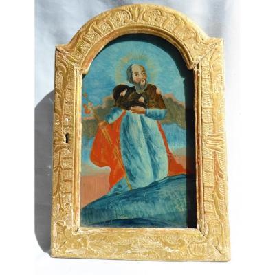 Porte De Tabernacle XVIIIe Siecle , Peinture Fixée Sous Verre , Saint Jacques De Compostel Fixe