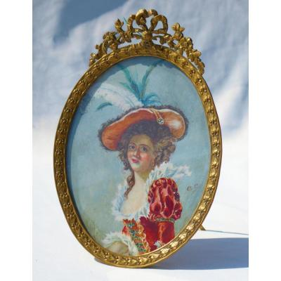 Large Miniature Painted On Ivory Young Woman Late Nineteenth Renaissance Style Portrait Napoleon III