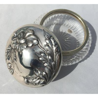 Baccarat Carved Crystal Powder Box And Sterling Silver, 1900 Art Nouveau Style Poppies