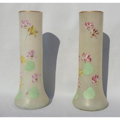 Pair Of Large Enamelled Vases Legras Art Nouveau Era Enamelled Vase Orchid Decor Email