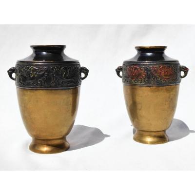 Paire De Vases En Bronze Patiné , Chine XIXe Siecle , Objet Asiatique , Vase , Décor De Phenix