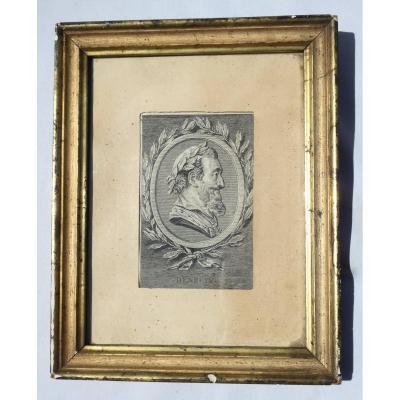 Gravure En Noire Représentant Le Profil du Roi De France Henri IV , Bourbon , XVIIIe Siecle