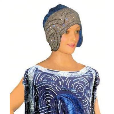 Coiffe De Soirée époque 1920 , Bonnet De Reception , Art Deco , Chapeau Cloche Mode Bal Vintage