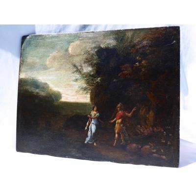Huile Sur Panneau De Bois , Scene Mythologique , Dieu Mars & Aphrodite , Style XVIIIe tableau