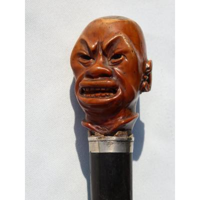 Walking Cane Ivory Handle Carved, Silver Ring, Chinese Head / Asian Caricature