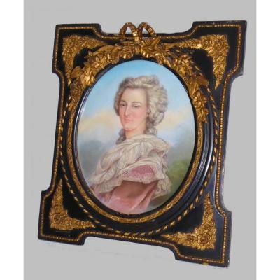 Portrait In Pastel Of Madame Elisabeth Sister Of The King Of France Louis XVI, Princess Frame Nineteenth