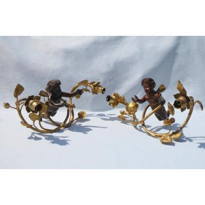 Paire d'Appliques En Bronze , Angelot & Roses , Ange Lustre XIXe 1900 , Applique Murale Puttis