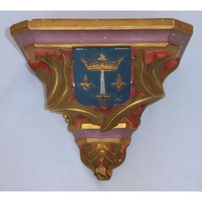 Console Wall Plaster, Neo-gothic Style, Napoleon III, Viollet Le Duc Church Nineteenth