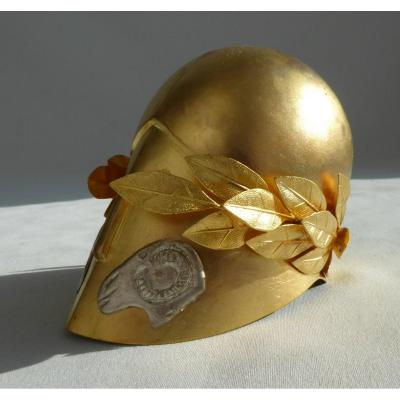 Helmet Corinthian Miniature In Golden Brass, Nineteenth Century; Laurel Wreath Pericles
