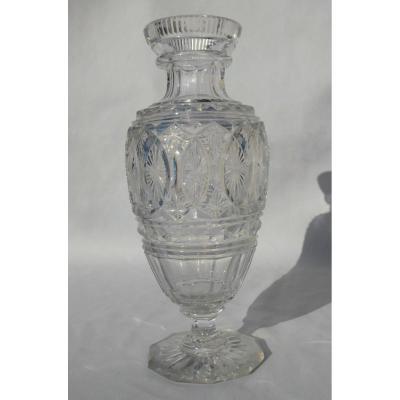 Vase Balustre En Cristal Taillé De Baccarat / Le Creusot , Style Charles X 1820 , Médicis
