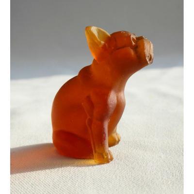 Animal Sculpture In Glass Paste, Art Nouveau, Dog Bulldog Style Daum 1900