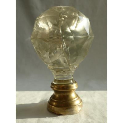 Staircase Ball 19th Century, Rock Crystal Bronze Post Finial Newel Stair
