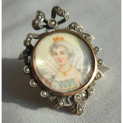 Brooch Napoleon III Portrait Of The Queen Of France Marie De Medicis Nineteenth Royalist Jewelry