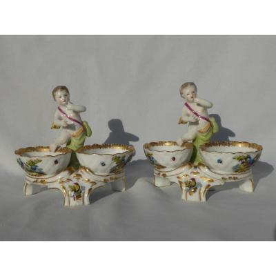 Pair Of Porcelain Salt In Paris Style Meissen Samson Nineteenth Angelot Saleron Napoleon III