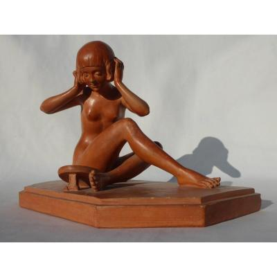 Terracotta Sculpture, Young Woman Naked In The Toilet, Art Deco Mirror Signed René Rod 1920