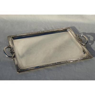 Serving Tray In Silver Metal, Premier Empire Style Decor, Nineteenth, Palmettes, Handles