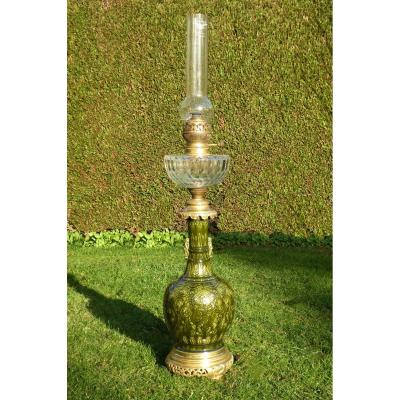 Large Petroleum Lamp Faience Theodore Deck Gilt Bronze Baccarat Crystal Nineteenth Orientalist