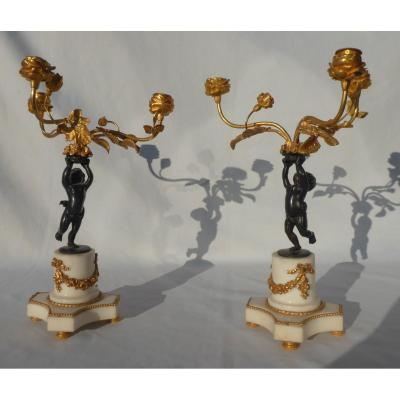 Pair Of Candlesticks Candelabra Gilt Bronze & Marble, Napoleon III, Putti Angel Nineteenth