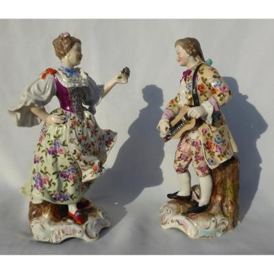 Pair Of Topics In German Porcelain Volkstedt, Meissen Style, Couple Galants, Nineteenth