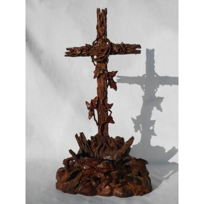 Benitier Carved Wood, Early Nineteenth Century, Stoup, Crucifix, Calvary 1820