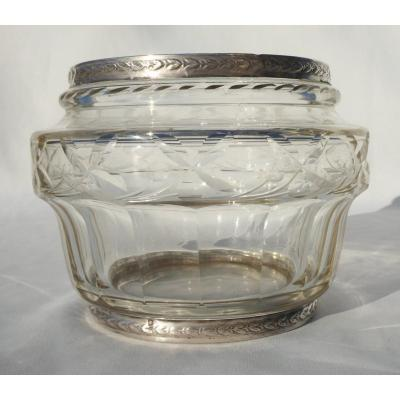 Tealight Crystal And Sterling Silver Tealight Vase, 19th Century Style, Head Minerva