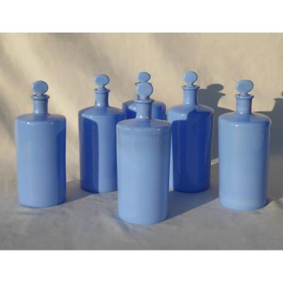 Set Of 6 Opaline Pharmacy Bottles, Lavender Color Bottle XIXth Perfume