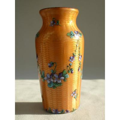 Enamelled Vase Art Nouveau Period, Limoges Decor With Violets, Signed Gamet 1910-1920 Enamel