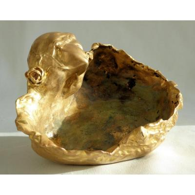 Empty Pocket In Gilt Bronze, Art Nouveau Period, Young Woman And Iris, Cup 1900 Signed M