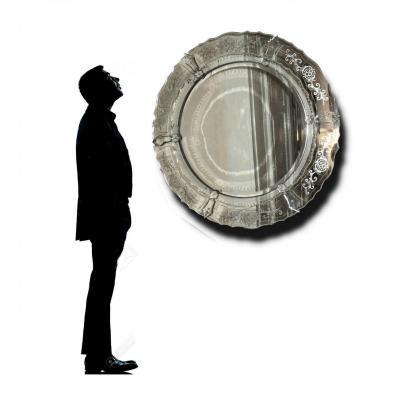 Large Venetian Mirror, Circular Shape Period 1930 Venice Murano Art Deco 100cm Diameter