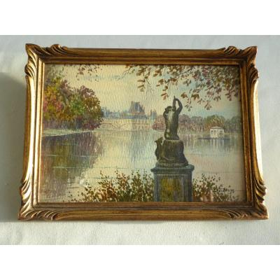 Miniature Painting, Watercolor 1910 Period Garden Of Chateau De Fontainebleau, Signed Duchesne