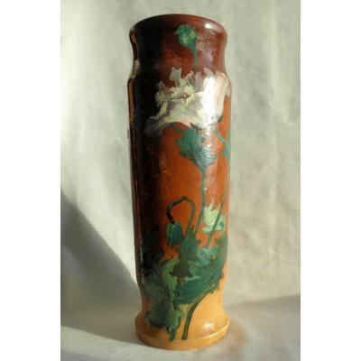 Large Impressionist Faience Marlotte Vase, Montigny Sur Loing XIXth Art Nouveau Pavot Bezard