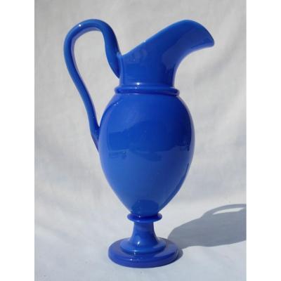 Aiguière En Opaline , Epoque Charles X 1820 , XIXe , Broc / Pichet Aiguiere , Bleu / Bucher