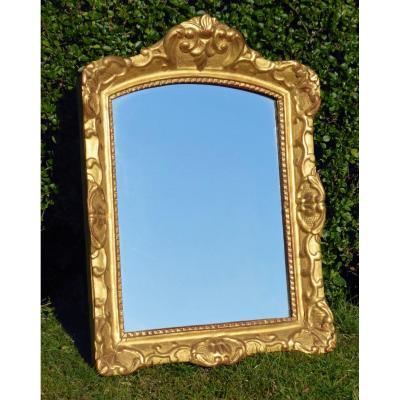 Wood & Golden Stucco Mirror, Regenc E Style, XIXth Century, Mercury, Period Gilding
