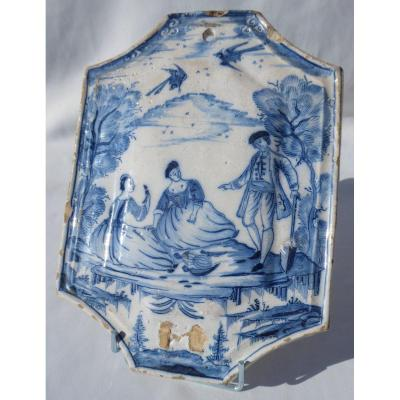 18th Century Delft Faience Plate, Camaieu De Bleu, Sconce Galante Around 1740 Curiosa