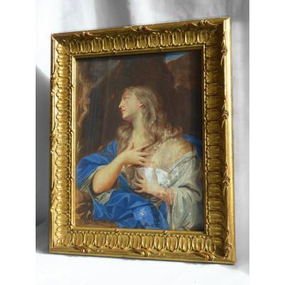 Peinture XIXe , Scène Religieuse , Vanité Sainte Marie Madeleine Pénitente , Crane Humain Crâne