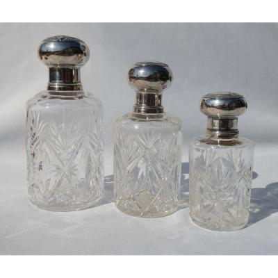 Series Of Three Crystal Perfume Bottles Size & Sterling Silver End XIXth Century Toilet Bottle