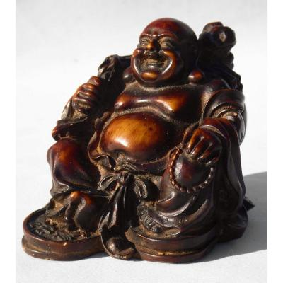 Asian Sculpture In Exotic Wood XIXth, Buddha / Budai Smiling Asia