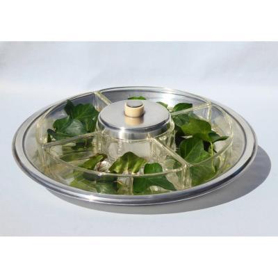 Servant Condiments Art Deco Silver Metal & Ivory Signed Christofle Baccarat Aperitif 1930