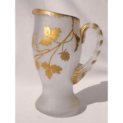 Pitcher Orangeade Period 1900 Art Nouveau Style Enamelled Glass Legras Montjoye Nineteenth Broc Carafe