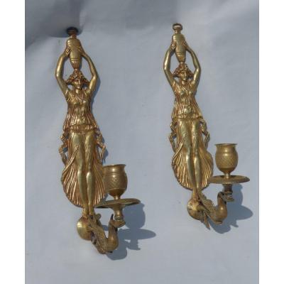 Paire d'Appliques à Un Bras De Lumiere Bronze Doré Cariatide & Cygne Style Empire XIXe Applique