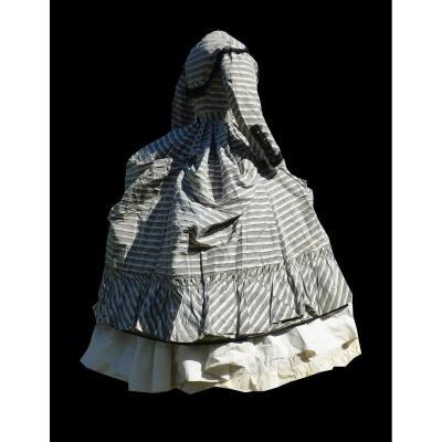 Robe De Jour Epoque Napoléon III XIXe Costume Crinoline Polonaise Rayures Second Empire Soie