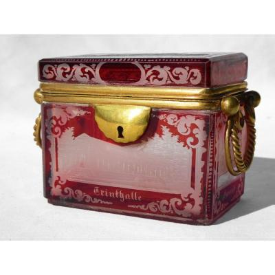 Napoleon III Period Jewelry Box, Ruby Red Bohemian Engraved Crystal 19th Box Garnet